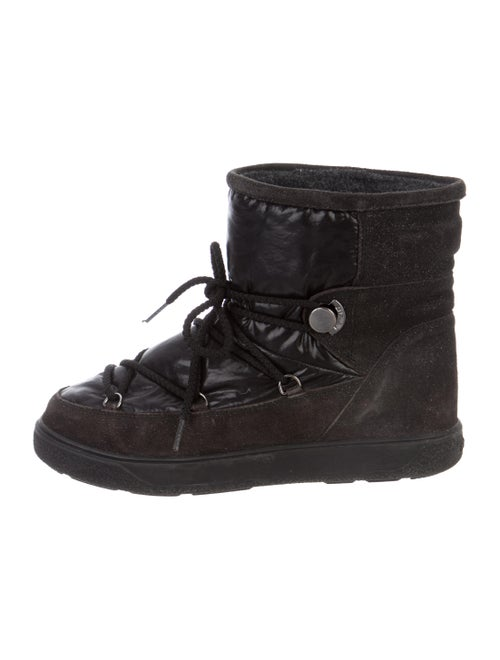 Moncler Glitter and Nylon Ankle Boots Black