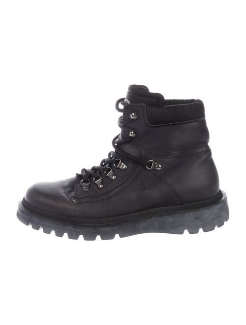 Moncler Leather Ankle Boots black