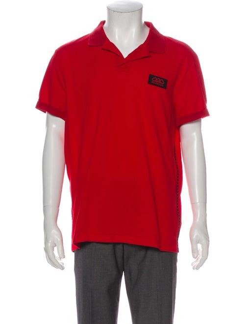 Moncler Logo Applique V-Neck Polo Shirt Red