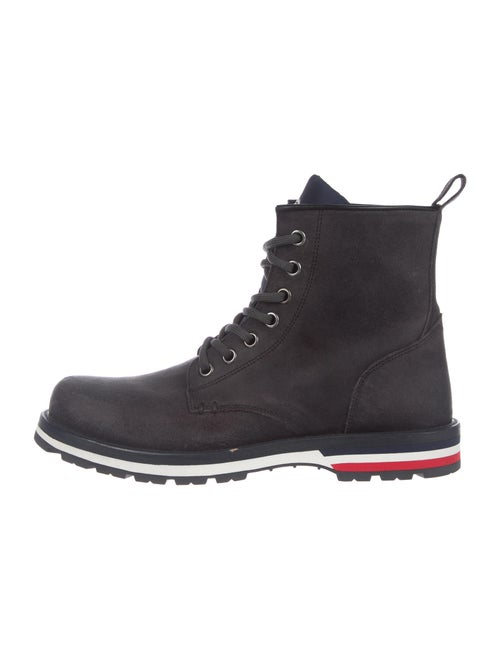 Moncler Leather Lace-Up Boots Grey