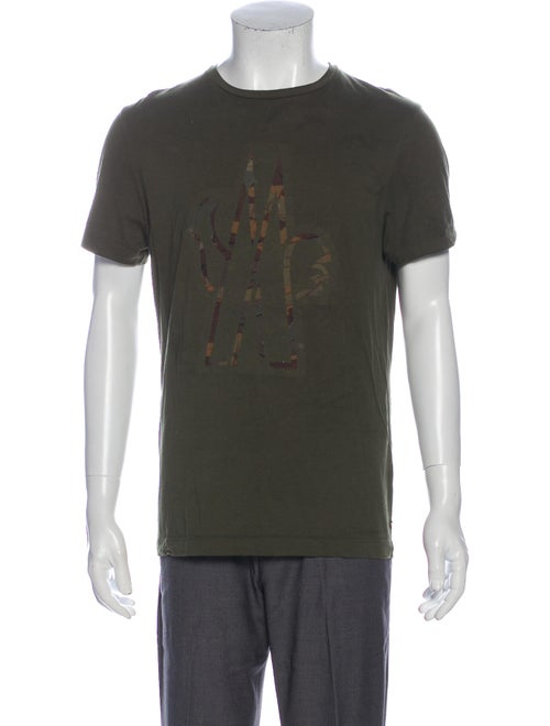 Moncler Graphic Print Crew Neck T-Shirt Green
