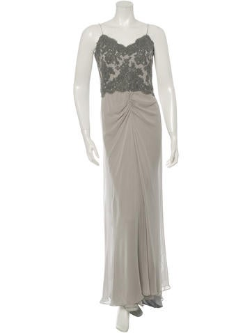 Lace-Trimmed Crepe de Chine Gown