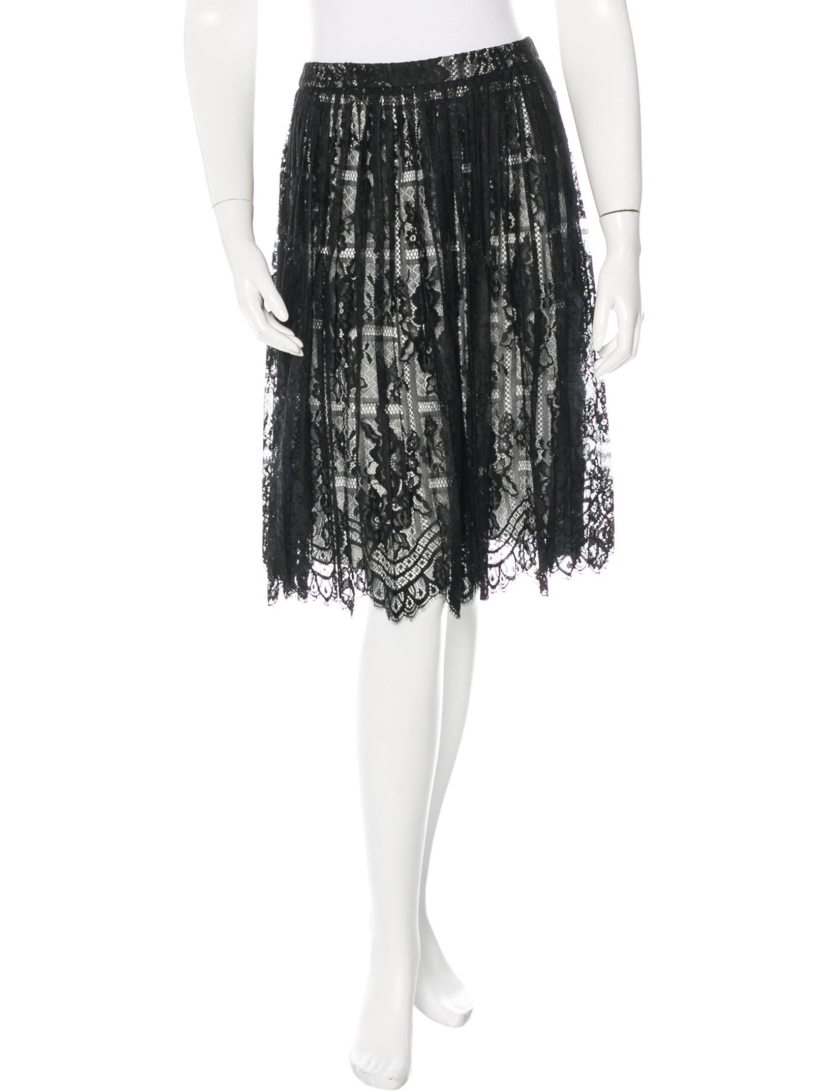 lhuillier pleated lace skirt clothing moi21347