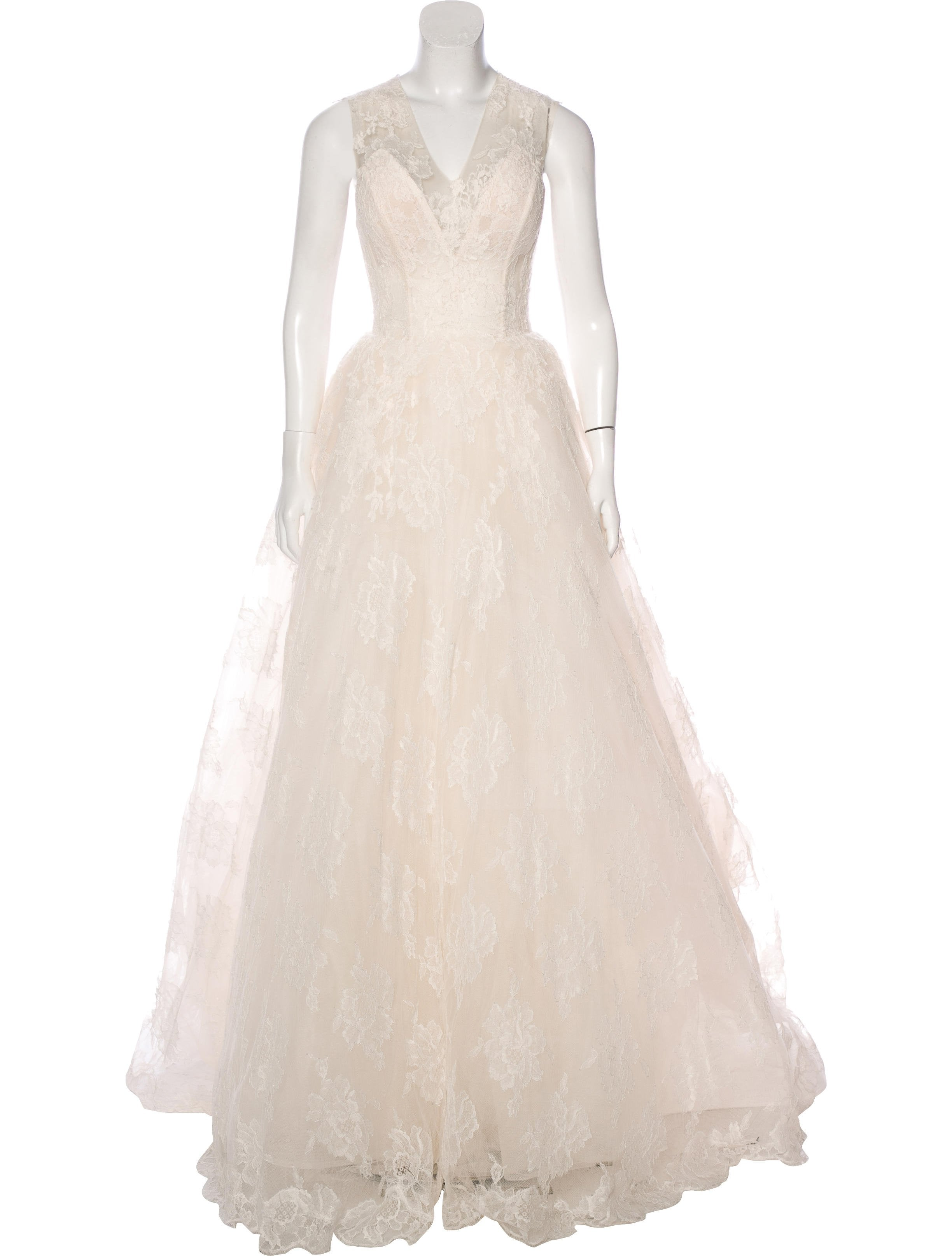 Monique Lhuillier Chantilly Lace Wedding Gown - Clothing - MOI22210 ...
