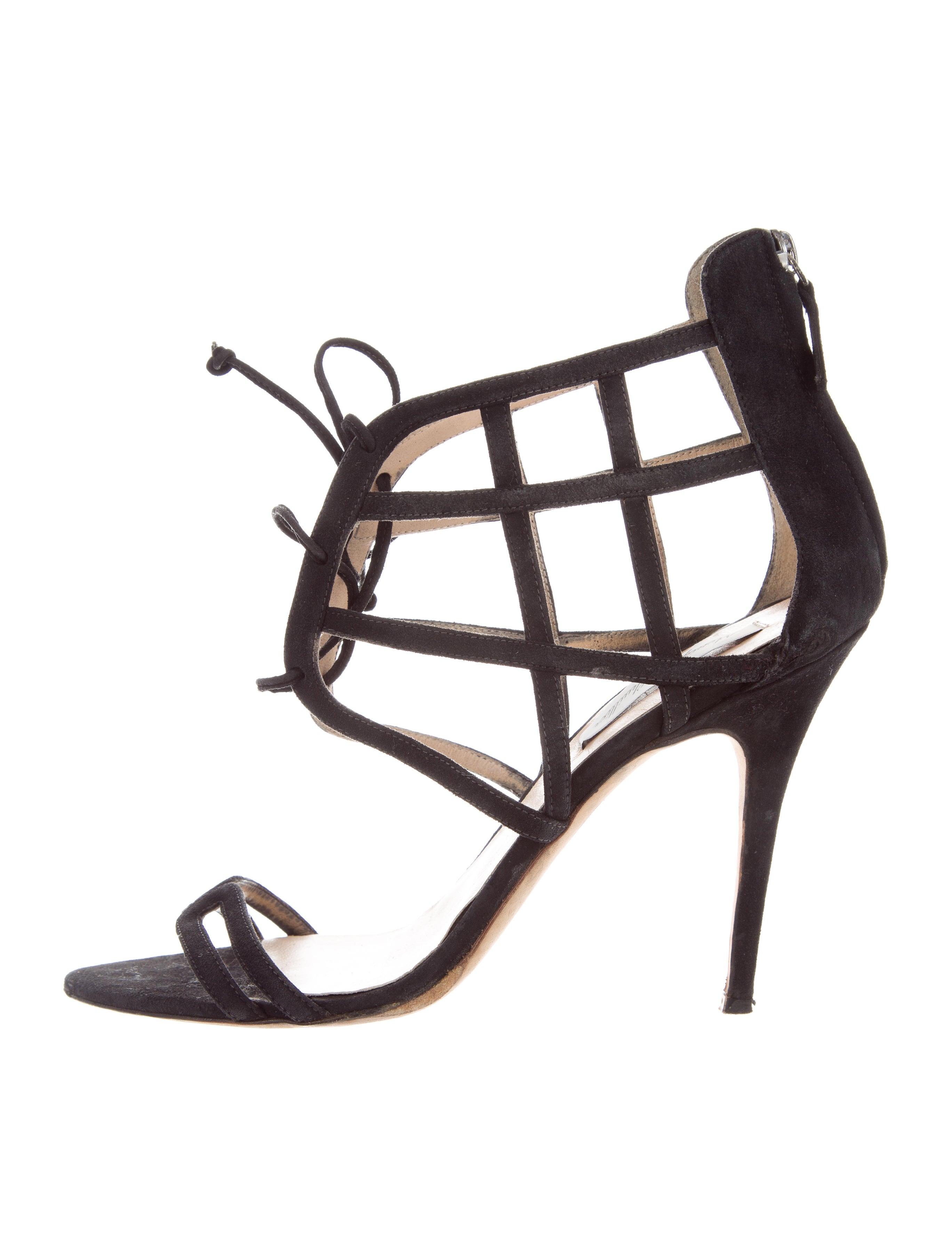 genuine for sale shop for cheap price Monique Lhuillier Suede Cage Sandals pick a best sale online finishline ASoR5FO6Pj