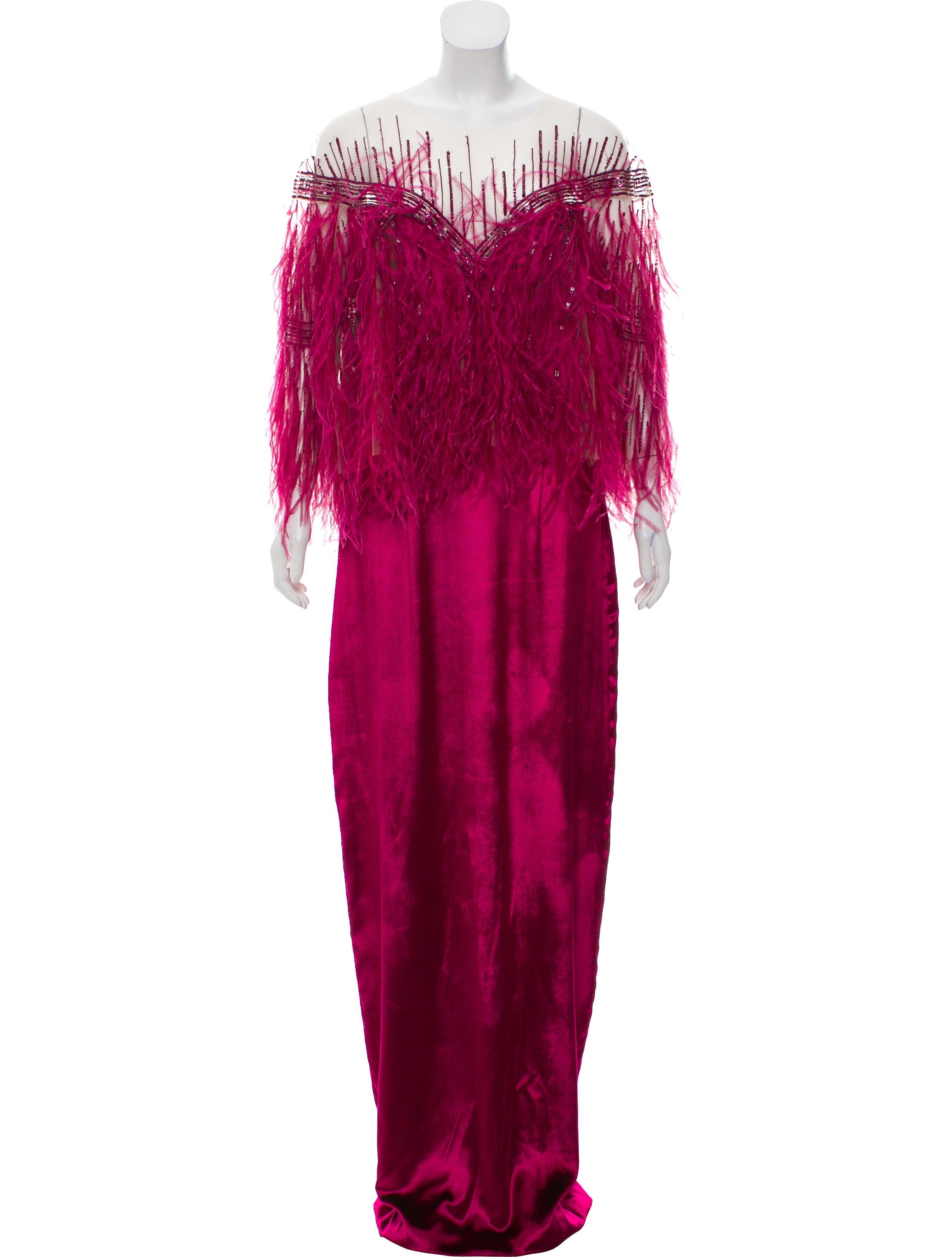 Monique Lhuillier Feather-Trimmed Evening Dress w/ Tags - Dresses ...