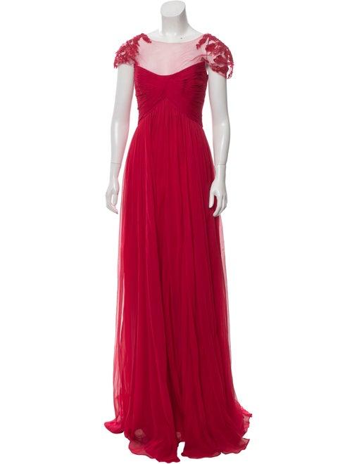 Monique Lhuillier Silk Gown Red