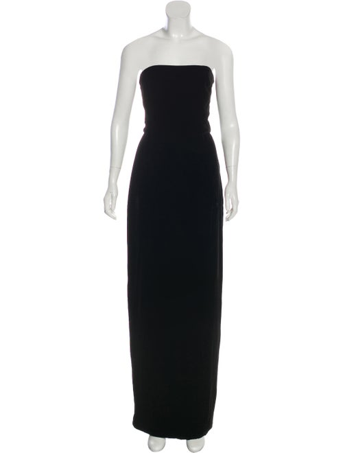 Monique Lhuillier Velvet Evening Gown Black