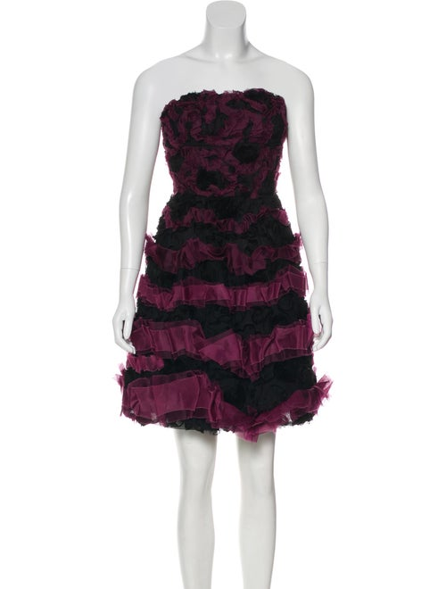 Monique Lhuillier Strapless Tulle Cocktail Dress M
