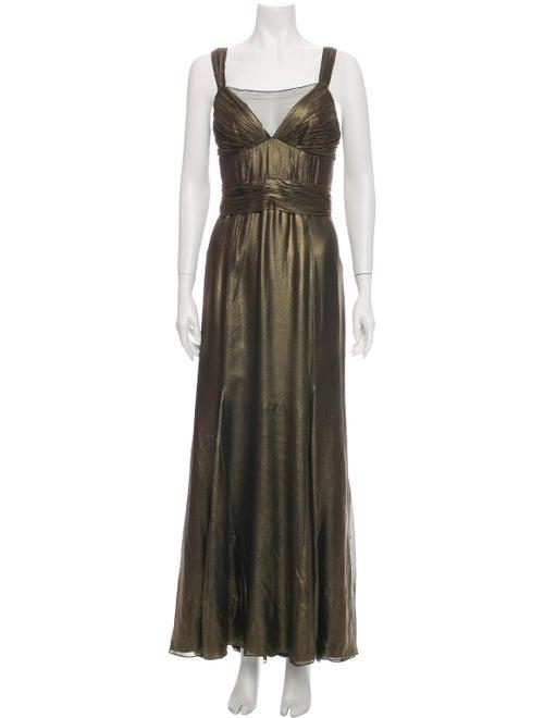 Monique Lhuillier Silk Long Dress Gold