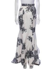Monique Lhuillier Silk Long Skirt
