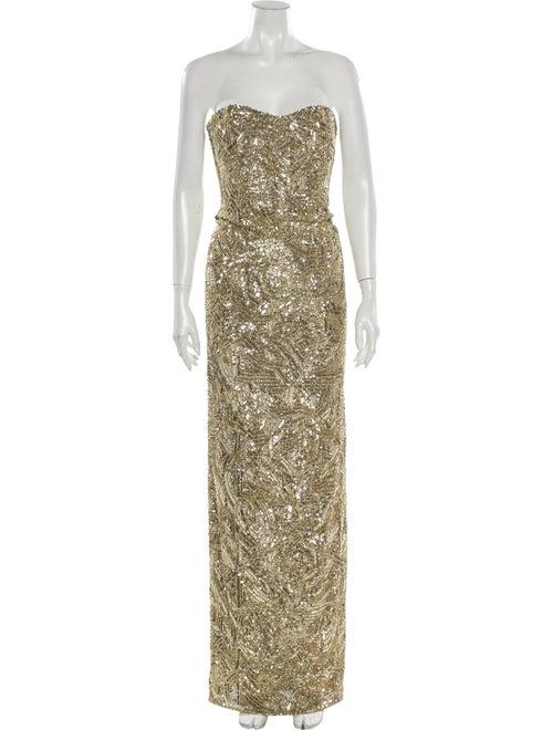 Monique Lhuillier Strapless Long Dress Gold