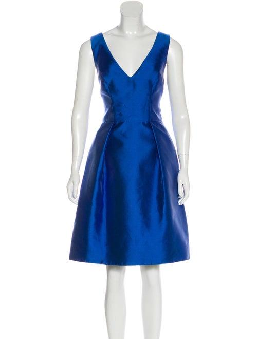 Monique Lhuillier Sleeveless Flared Dress Blue