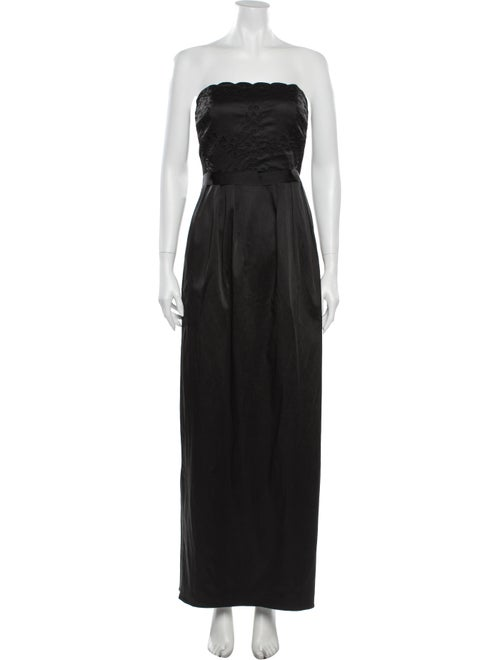 Monique Lhuillier Strapless Long Dress Black