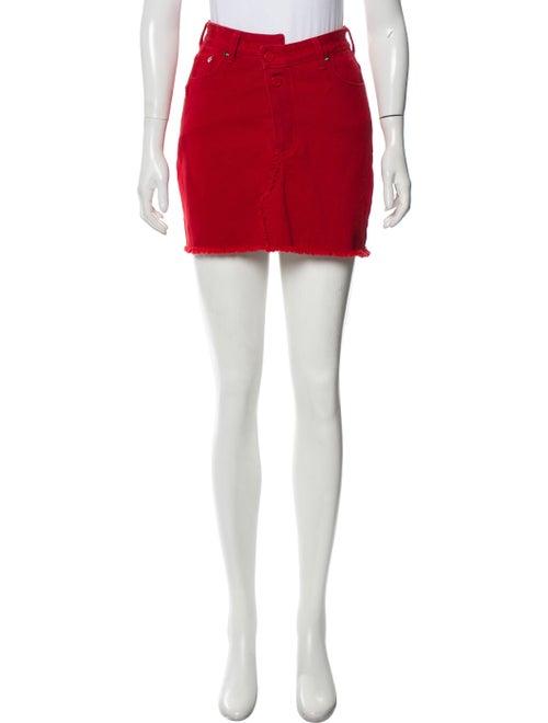 Monse Denim Mini Skirt Red