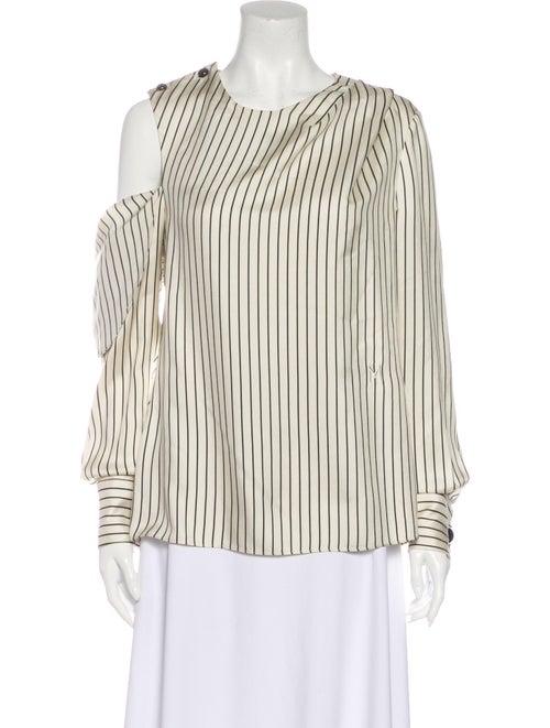 Monse Silk Striped Blouse White