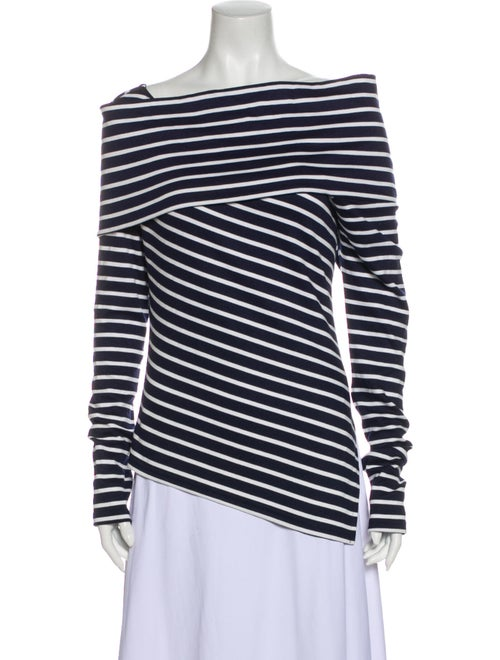 Monse Striped Off-The-Shoulder Top Blue