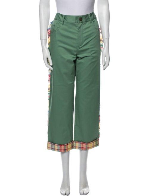 Monse Plaid Print Straight Leg Pants w/ Tags Green - image 1