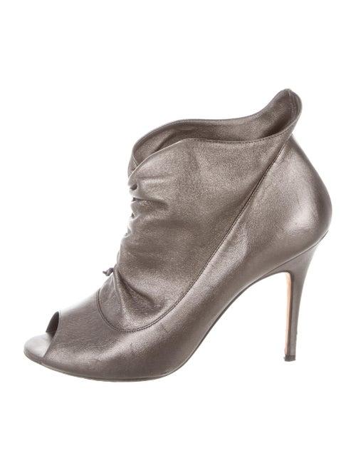 ef0ea8cfdc72 Manolo Blahnik Metallic Peep-Toe Booties - Shoes - MOO105939