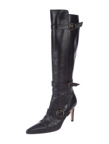 0c00ab97706 Manolo Blahnik. Leather Point-Toe Knee-High Boots