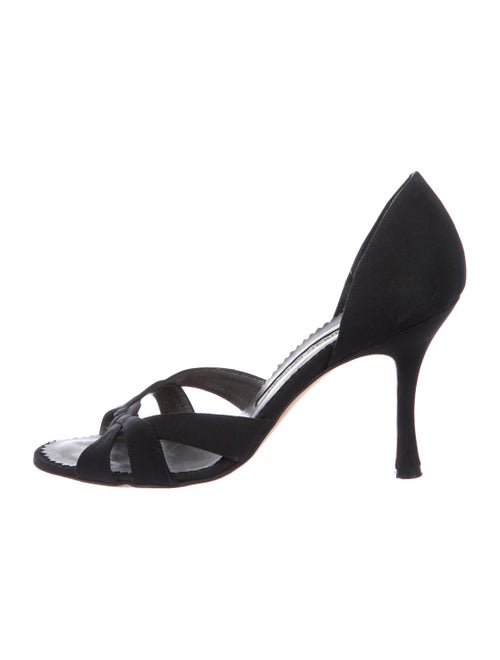 54ab7388c43f Manolo Blahnik Crepe Cutout Sandals - Shoes - MOO107425