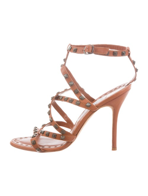 e22ee76ae4f4 Manolo Blahnik Leather Studded Sandals - Shoes - MOO107464