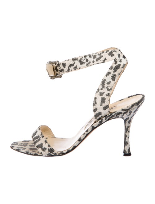7ddb1216afad Manolo Blahnik Printed Woven Sandals - Shoes - MOO107479