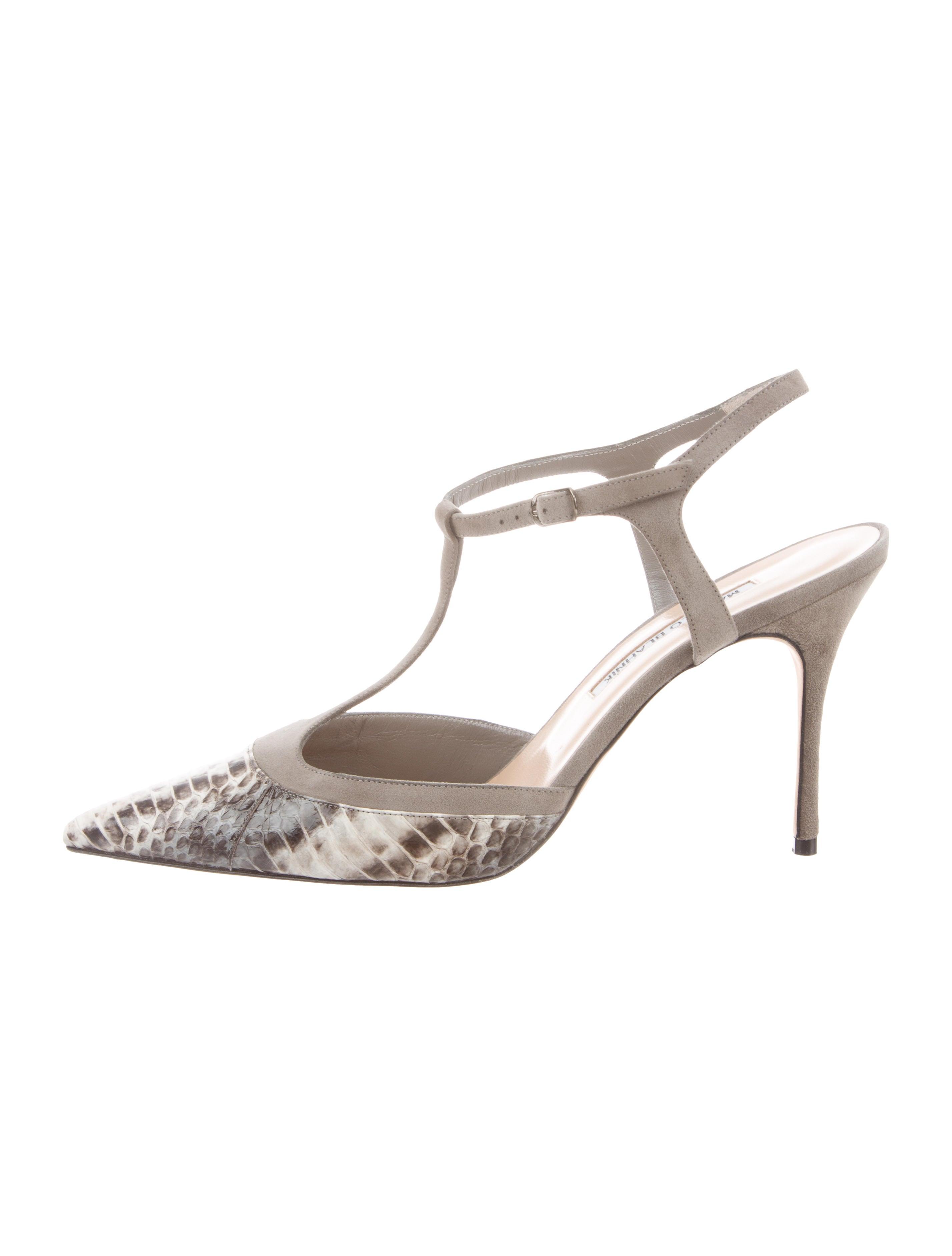 76cbfe6f9bbf Manolo Blahnik Python T-Strap Sandals - Shoes - MOO107578