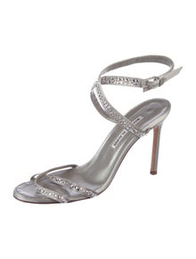 02846bff53 Manolo Blahnik. Embellished Satin Sandals. Size: 8.5