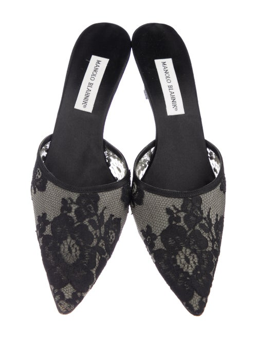 0619602aba03e Manolo Blahnik Lace Pointed-Toe Mules - Shoes - MOO115270 | The RealReal