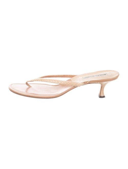 Manolo Blahnik Snakeskin Thong Sandals