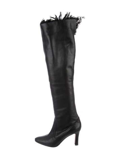 Manolo Blahnik Leather Over-The-Knee Boots Black