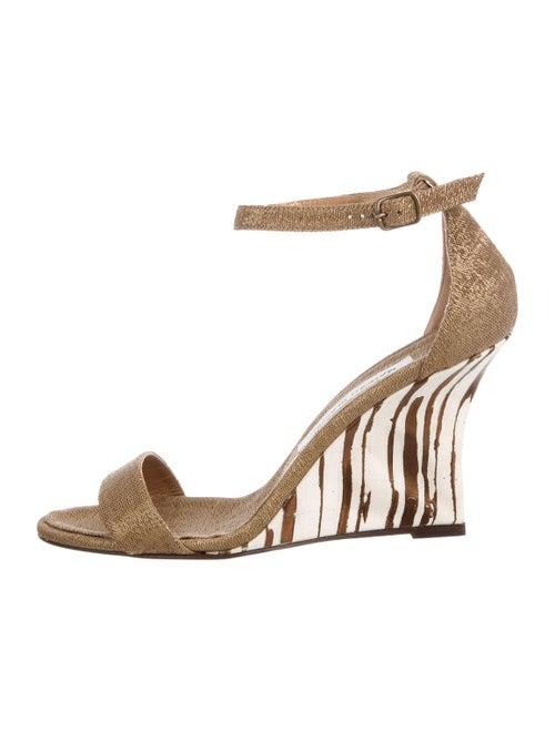 Manolo Blahnik Animal Print Sandals Gold