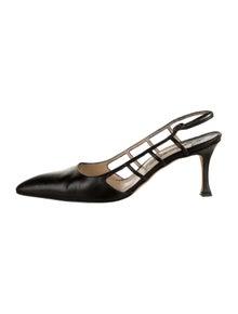 Manolo Blahnik Leather Pointed-Toe Slingback Pumps