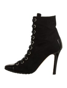 Manolo Blahnik Semi-Pointed Toe Lace-Up Boots