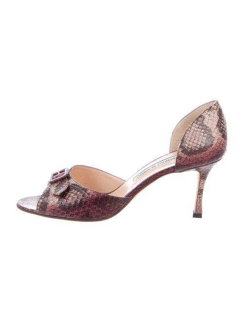 Manolo Blahnik Snakeskin Animal Print Sandals Brow