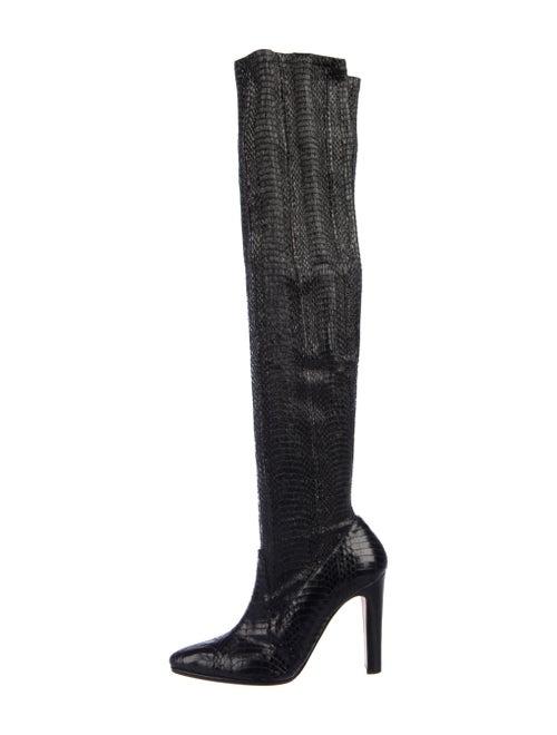 Manolo Blahnik Snakeskin Boots Black