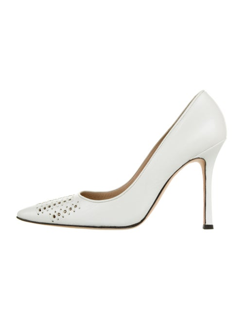 Manolo Blahnik Leather Pumps White