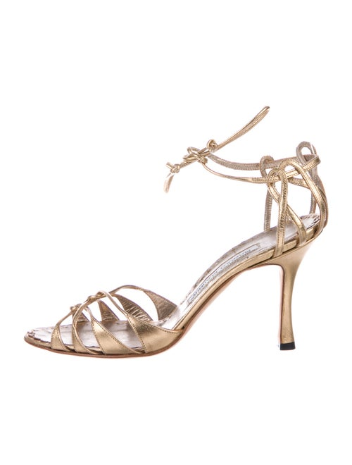 Manolo Blahnik Leather Sandals Gold