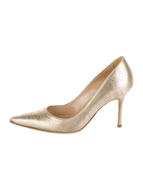 Manolo Blahnik Leather Pumps Gold