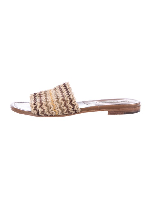 Manolo Blahnik Jute Striped Slides