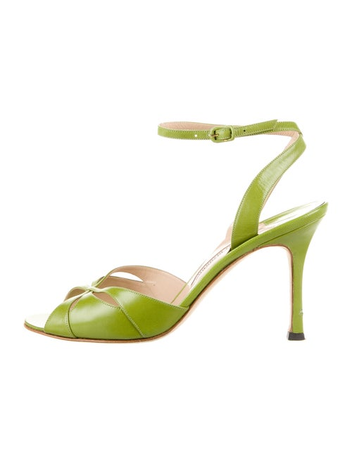 Manolo Blahnik Leather Sandals Green