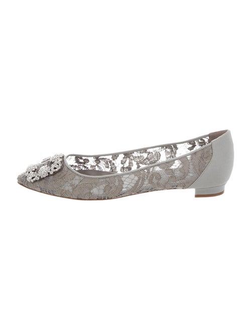 Manolo Blahnik Hangisi Lace Pattern Flats Grey