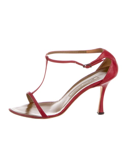 Manolo Blahnik Leather T-Strap Sandals Red