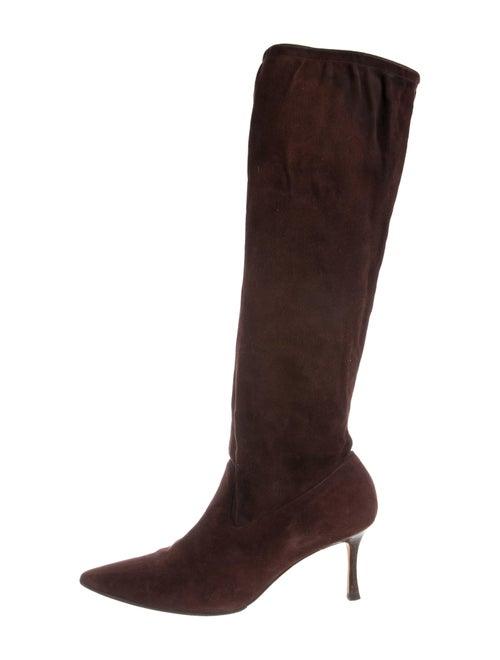 Manolo Blahnik Suede Knee-High Boots Brown