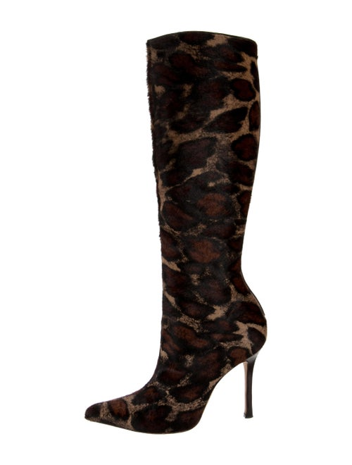 Manolo Blahnik Calf Hair Animal Print Boots
