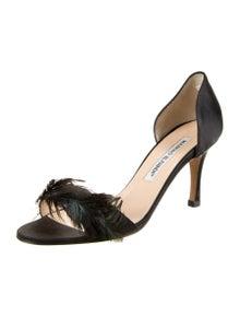 Manolo Blahnik Feather Trim Sandals
