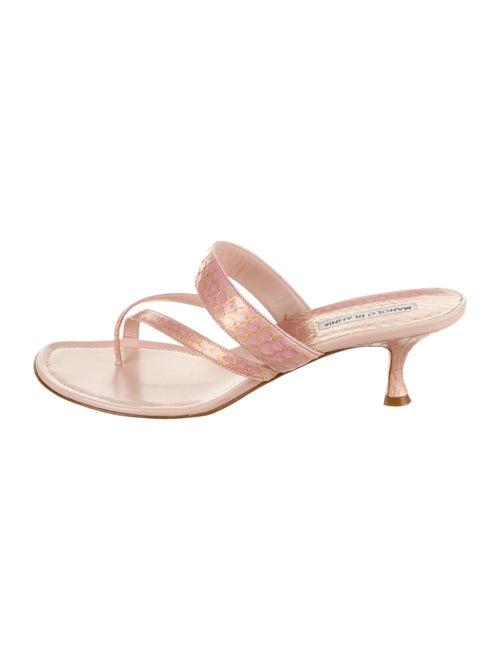 Manolo Blahnik Leather Slides Pink