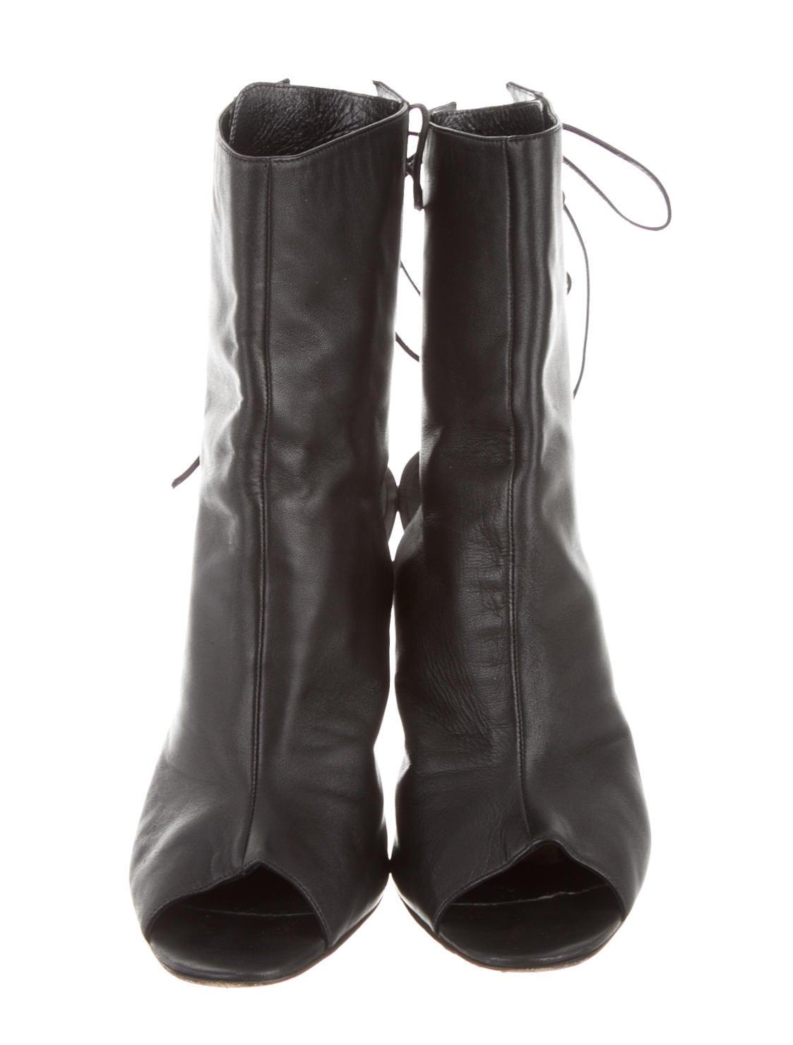 Manolo Blahnik Peep-Toe Ankle Boots - Shoes - MOO38302 ...