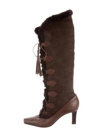 manolo blahnik fur knee high boots shoes moo38438